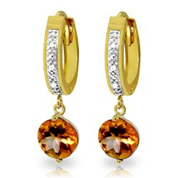 ALARRI 2.53 CTW 14K Solid Gold Organza Citrine Diamond Earrings