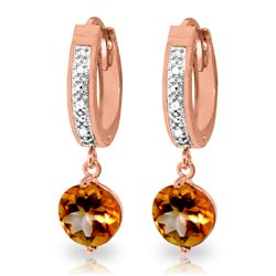 ALARRI 2.53 Carat 14K Solid Rose Gold Diamond Round Citrine Drop Hoops