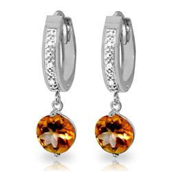 ALARRI 2.53 Carat 14K Solid White Gold No Stone Unturned Citrine Diamond Earrings