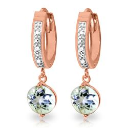 ALARRI 2.28 Carat 14K Solid Rose Gold Diamond Round Aquamarine Drop Hoops
