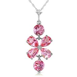 ALARRI 3.15 Carat 14K Solid White Gold Vivian Pink Topaz Necklace