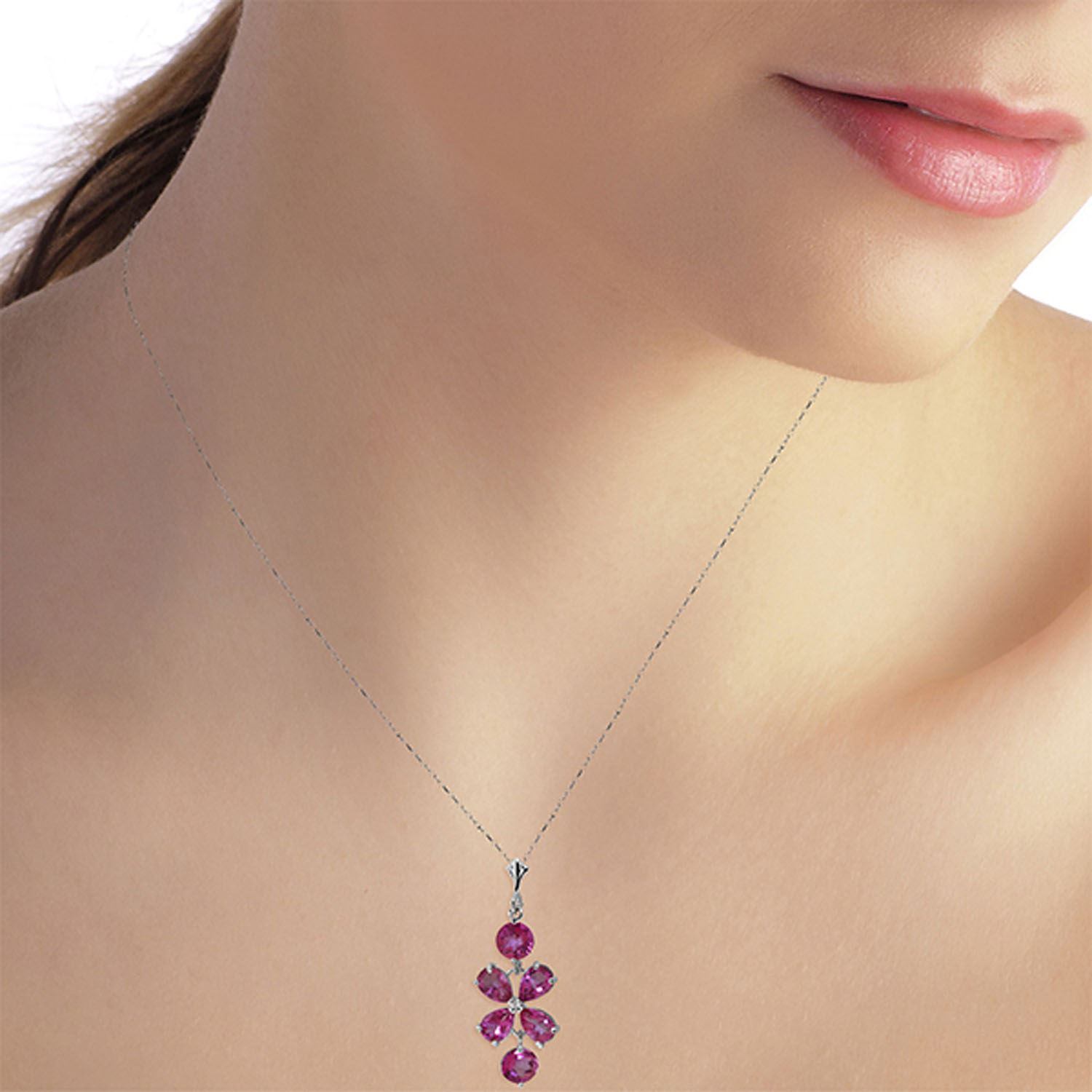 ALARRI 3.15 Carat 14K Solid White Gold Vivian Pink Topaz Necklace with 22 Inch Chain Length