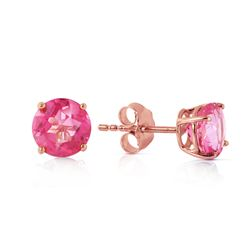 ALARRI 1.3 Carat 14K Solid Rose Gold Spotlight Pink Topaz Stud Earrings