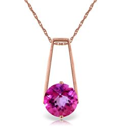 ALARRI 1.45 Carat 14K Solid Rose Gold Lullaby Pink Topaz Necklace