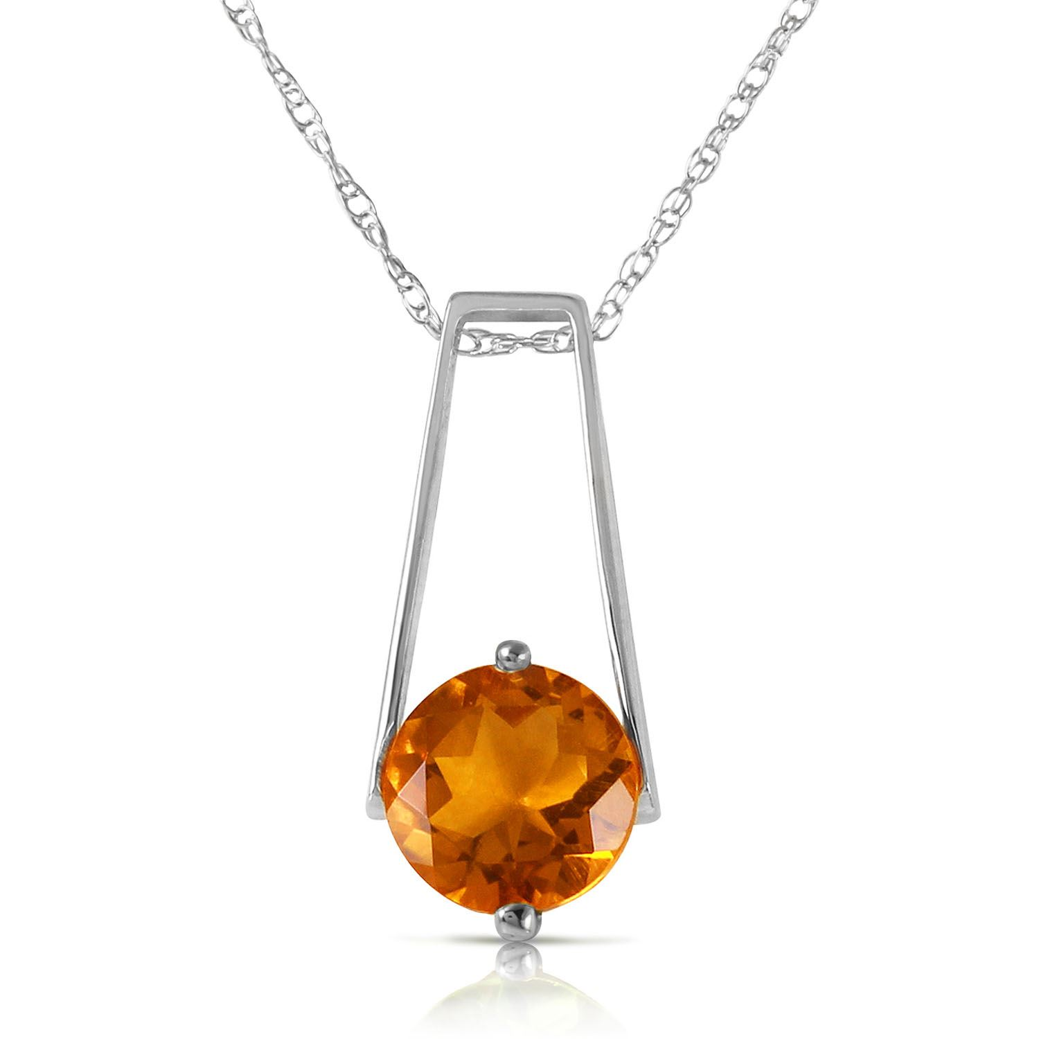 ALARRI 1.45 Carat 14K Solid White Gold Smooth Love Citrine Necklace with 22 Inch Chain Length