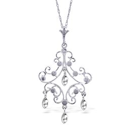ALARRI 14K Solid White Gold Chandelier Necklace