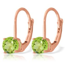 ALARRI 1.2 Carat 14K Solid Rose Gold Solitaire Peridot Earrings