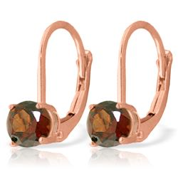 ALARRI 1.2 Carat 14K Solid Rose Gold Garnet Solitaire Earrings