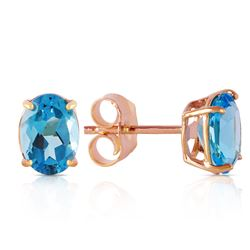 ALARRI 1.8 Carat 14K Solid Rose Gold Panache Blue Topaz Stud Earrings
