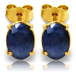 ALARRI 2 Carat 14K Solid Gold Stud Earrings Natural Sapphire