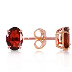 ALARRI 1.8 Carat 14K Solid Rose Gold Panache Garnet Stud Earrings