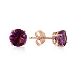ALARRI 0.95 Carat 14K Solid Rose Gold Petite Amethyst Stud Earrings