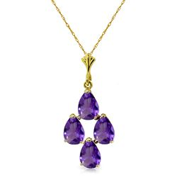 ALARRI 1.5 Carat 14K Solid Gold Sense And Sensations Amethyst Necklace