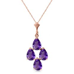 ALARRI 1.5 Carat 14K Solid Rose Gold Pyramid Amethyst Necklace