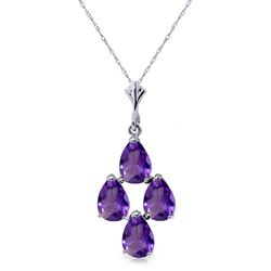 ALARRI 1.5 Carat 14K Solid White Gold Surreal Love Amethyst Necklace
