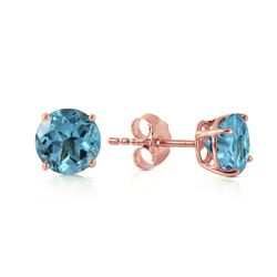 ALARRI 0.95 CTW 14K Solid Rose Gold Petite Blue Topaz Stud Earrings