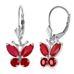 ALARRI 1.24 Carat 14K Solid White Gold Butterfly Earrings Natural Ruby