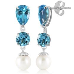 ALARRI 10.5 Carat 14K Solid White Gold Burning Up Blue Topaz Pearl Earrings