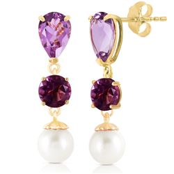 ALARRI 10.5 CTW 14K Solid Gold Chandelier Earrings Amethyst Pearl