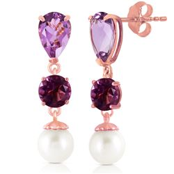 ALARRI 10.5 Carat 14K Solid Rose Gold Chandelier Earrings Amethyst Pearl