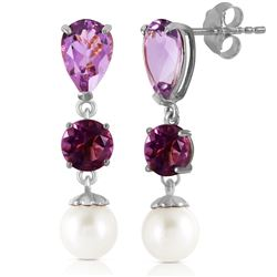ALARRI 10.5 CTW 14K Solid White Gold Chandelier Earrings Amethyst Pearl