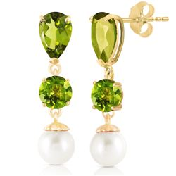 ALARRI 10.5 CTW 14K Solid Gold Chandelier Earrings Peridot Pearl
