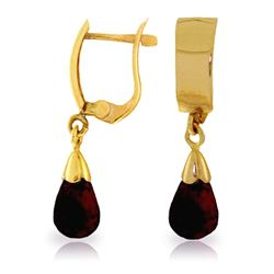 ALARRI 2.5 CTW 14K Solid Gold Leverback Earrings Drop Garnet