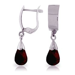 ALARRI 2.5 Carat 14K Solid White Gold Leverback Earrings Drop Garnet