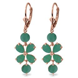 ALARRI 5.32 CTW 14K Solid Rose Gold Chandelier Earrings Natural Emerald