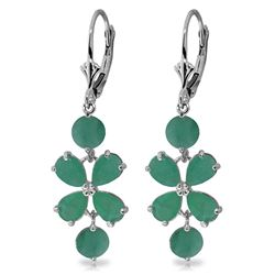 ALARRI 5.32 Carat 14K Solid White Gold Chandelier Earrings Natural Emerald