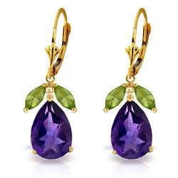 ALARRI 13 Carat 14K Solid Gold Leverback Earrings Peridot Amethyst