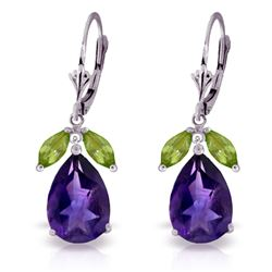 ALARRI 13 CTW 14K Solid White Gold Leverback Earrings Peridot Amethyst