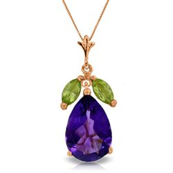 ALARRI 14K Solid Rose Gold Necklace w/ Purple Amethyst & Peridots