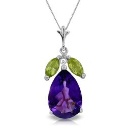 ALARRI 6.5 Carat 14K Solid White Gold 10 Minutes Early Amethyst Peridot Necklace