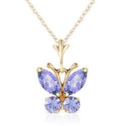 ALARRI 0.6 Carat 14K Solid Gold Butterfly Necklace Tanzanite