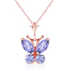 ALARRI 0.6 Carat 14K Solid Rose Gold Butterfly Necklace Tanzanite
