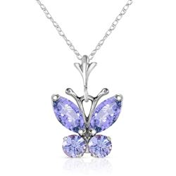 ALARRI 0.6 Carat 14K Solid White Gold Butterfly Necklace Tanzanite