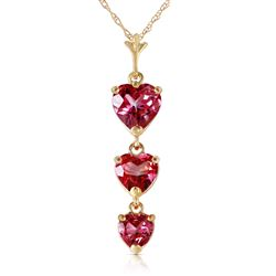 ALARRI 3.03 Carat 14K Solid Gold Hand On Heart Pink Topaz Necklace