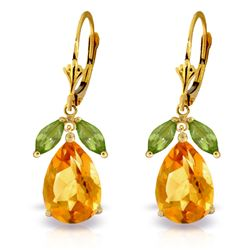 ALARRI 13 Carat 14K Solid Gold Sunset Kisses Citrine Peridot Earrings