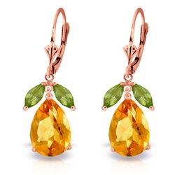 ALARRI 13 CTW 14K Solid Rose Gold Belle Citrine Peridot Earrings