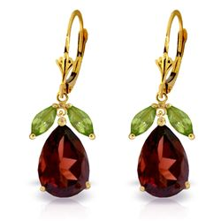 ALARRI 13 Carat 14K Solid Gold Leverback Earrings Peridot Garnet