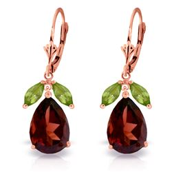 ALARRI 13 Carat 14K Solid Rose Gold Leverback Earrings Peridot Garnet
