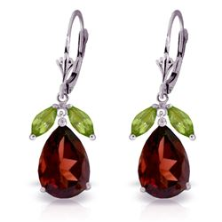 ALARRI 13 Carat 14K Solid White Gold Leverback Earrings Peridot Garnet