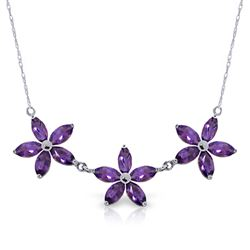 ALARRI 4.2 CTW 14K Solid White Gold I Can Flourish Amethyst Necklace