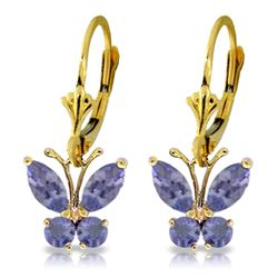 ALARRI 1.24 Carat 14K Solid Gold Butterfly Earrings Natural Tanzanite