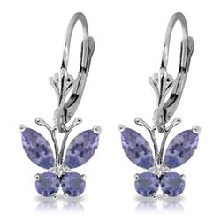 ALARRI 1.24 Carat 14K Solid White Gold Butterfly Earrings Natural Tanzanite