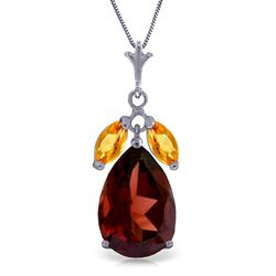 ALARRI 6.5 CTW 14K Solid White Gold Read My Lips Garnet Citrine Necklace
