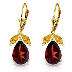 ALARRI 13 Carat 14K Solid Gold Leverback Earrings Citrine Garnet