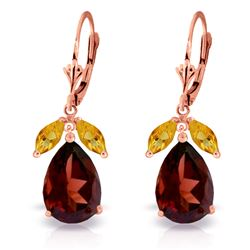 ALARRI 13 Carat 14K Solid Rose Gold Leverback Earrings Citrine Garnet