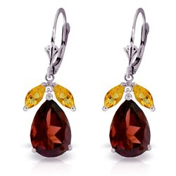 ALARRI 13 Carat 14K Solid White Gold Leverback Earrings Citrine Garnet